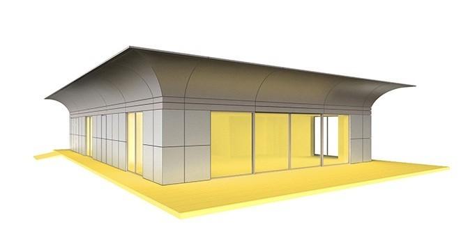 la maison cologique autonome pr fabriqu e sign e starck. Black Bedroom Furniture Sets. Home Design Ideas