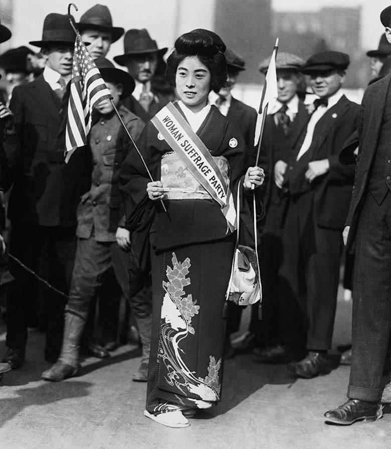 Madame Kimura in Suffrage Parade