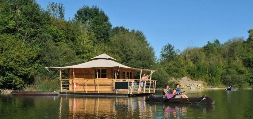 Echologia - cabane flottante et canoe