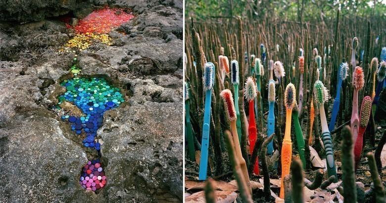 Il déverse du plastique dans l'environnement pour livrer un message Duran-og