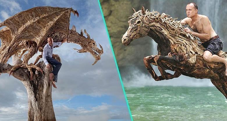 Il récupère le bois de l'océan pour en faire d'intrigantes sculptures