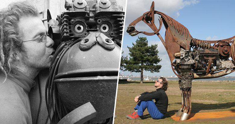 Ce français recycle la ferraille pour en faire d'imposantes créatures