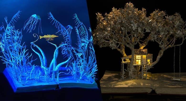 Elle crée des sculptures lumineuses en papier à l'intérieur de livres