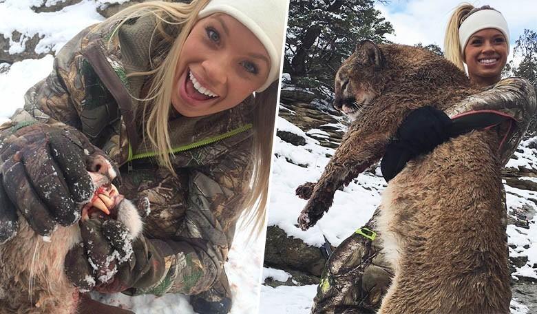 Kendall Jones revient avec des selfies à côté d'un puma mort