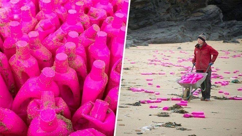 Une plage anglaise envahie par des bidons de lessive