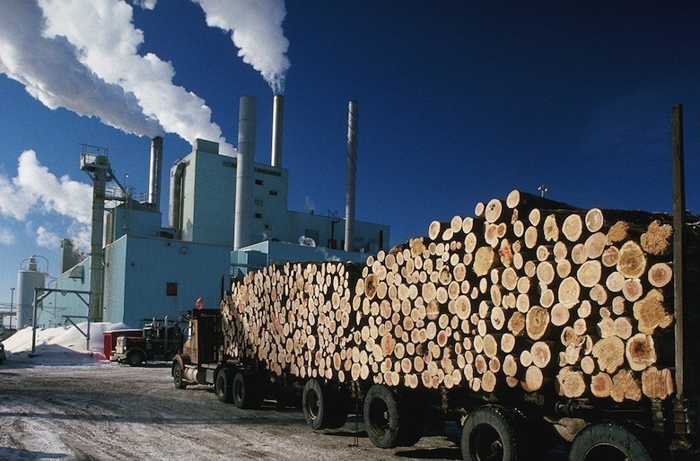 Logging Truck Approaching Paper Mill