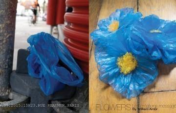 Il transforme des sacs plastiques en fleurs originales